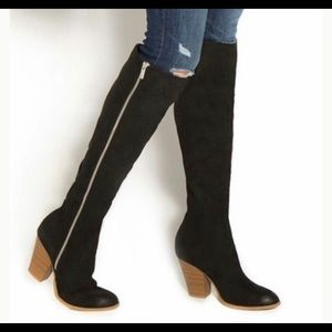 """Shoedazzle """"Paulette"""" Tall Black Suede Heeled Boot"""